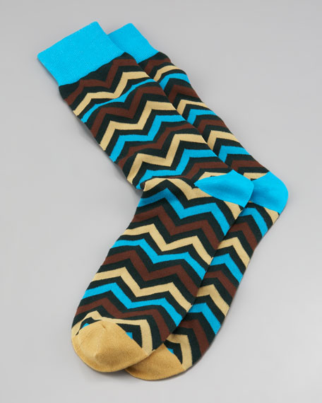 Chevron Men's Socks, Teal