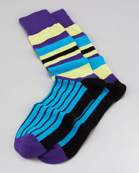 Multi-Striped Men's Socks, Purple
