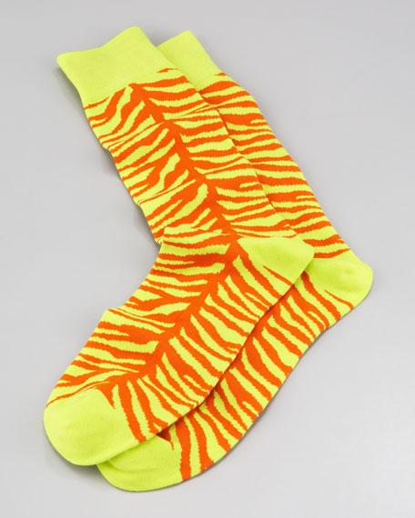 Zebra-Print Men's Socks, Neon Green