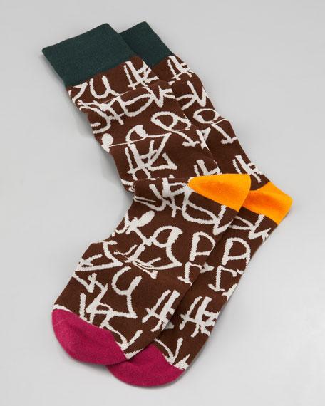 Graffiti Men's Socks, Brown
