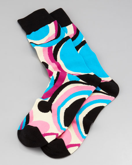 Swirls Men's Socks, Black