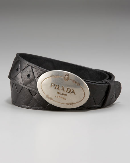 Quilted Leather Belt, Nero