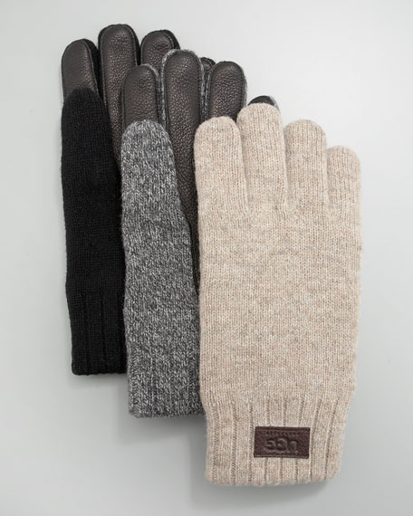 Leather-Palm Knit Glove