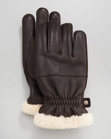 Shearling-Cuff Glove, Brown