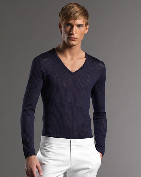 Silk V-Neck Sweater