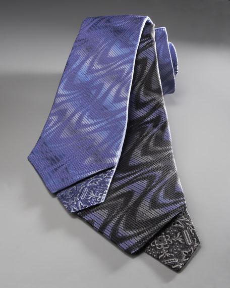 Swirl-Print Tie, Blue