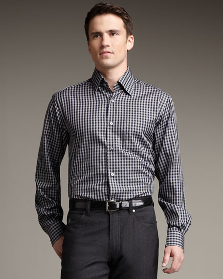 Small-Check Woven Shirt
