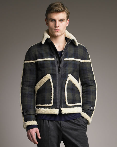 Burberry Prorsum Shearling-Trim Check Jacket