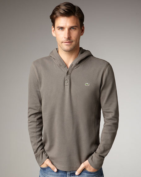 Long-Sleeve Hooded Tee, Natural Cream