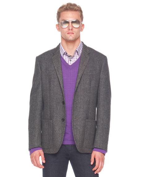 Double-Faced Wool Herringbone Sportcoat