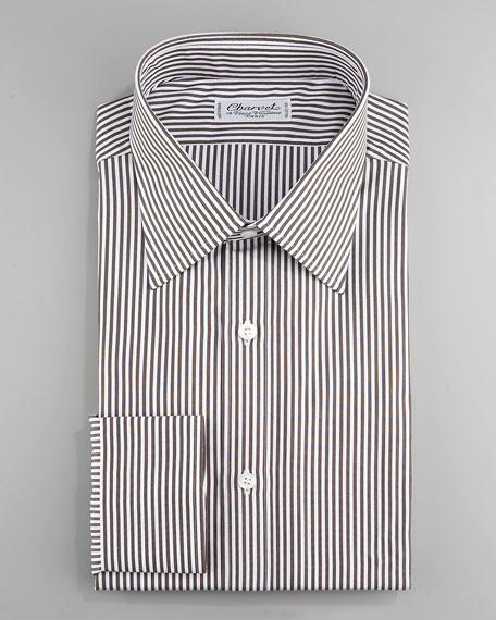Striped Dress Shirt, Brown