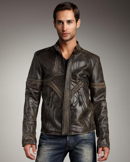 Distressed Motorcycle Jacket