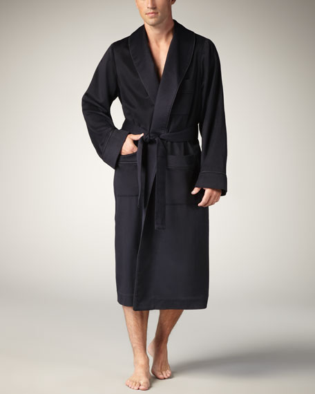 Cashmere-Wool Robe, Navy