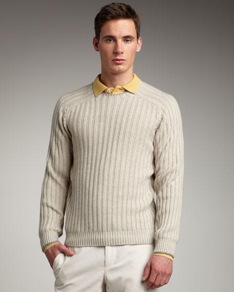 Ribbed Raglan-Sleeve Sweater