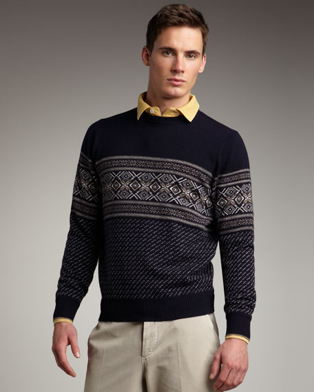 Fair Isle Sweater, Navy