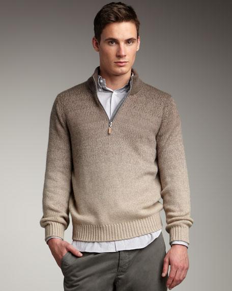 Degrade Half-Zip Cashmere Sweater