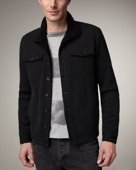 Fleece-Lined Waffle-Knit Jacket, Navy