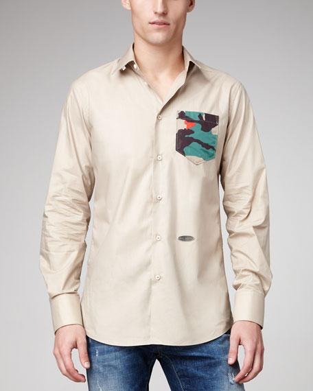 Camo-Pocket Poplin Shirt