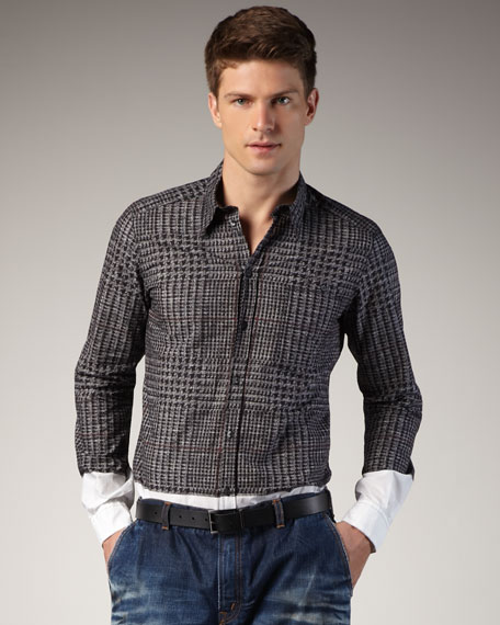 Dolce & Gabbana Plaid-Print Colorblock Woven Shirt