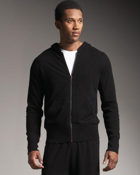Hooded Cashmere Track Jacket, Black