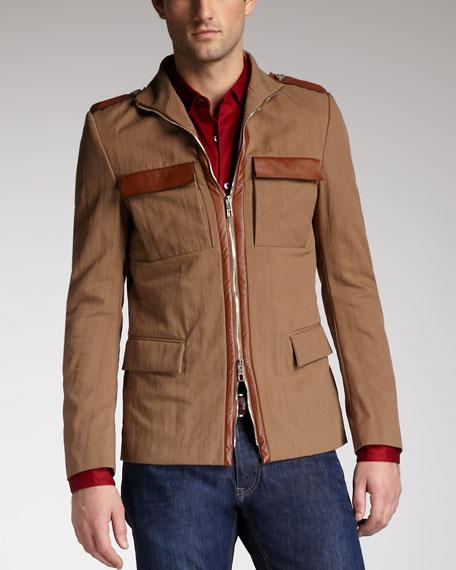 Leather-Trim Safari Jacket