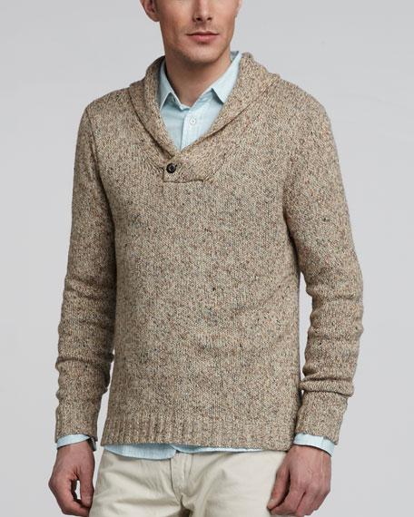 Dorset Marled Shawl-Collar Sweater
