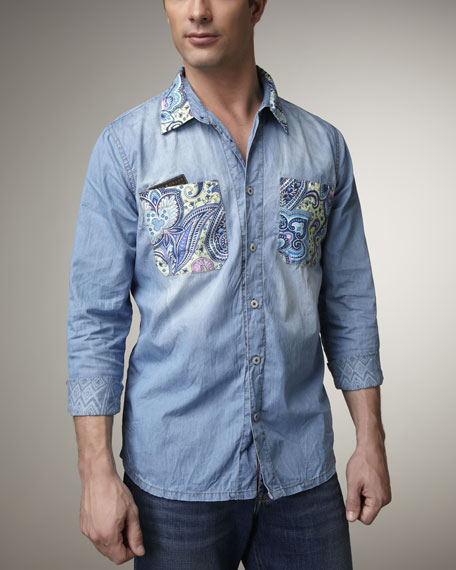 Paisley-Detail Denim Shirt
