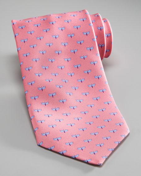 Dragonfly Silk Tie, Pink