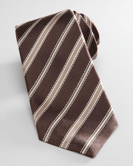 Diagonal Striped Tie, Brown