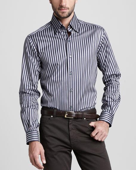 Striped Sport Shirt, Navy/Cognac