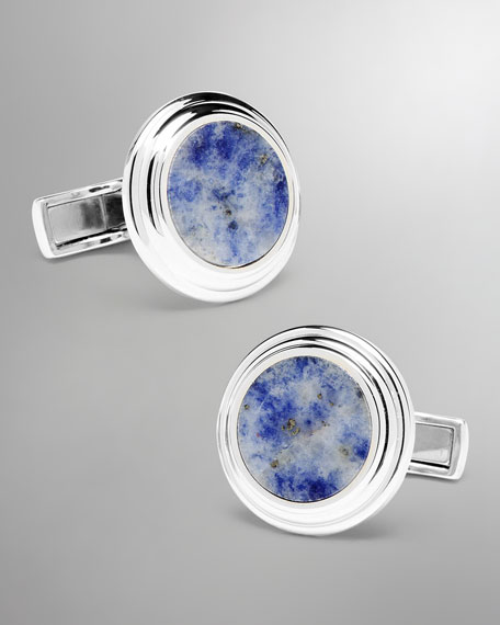 Round Lapis Cuff Links