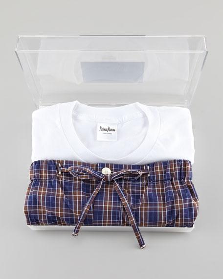 Gift Boxed Pajama Set, Brown/Blue