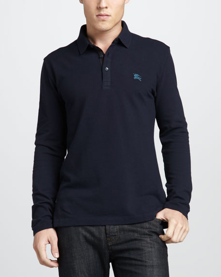 Check-Placket Jersey Polo, True Navy