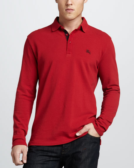 Check-Placket Jersey Polo, Military Red