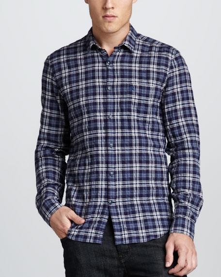 Plaid Button-Down Shirt, Uniform Blue