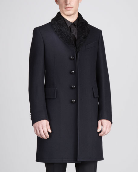 Shearling-Collar Topcoat