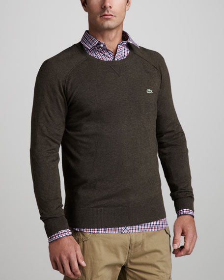 Suede-Patch Sweater, Bear Brown Chine