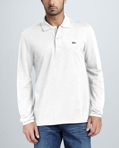 Long-Sleeve Pique Polo, White