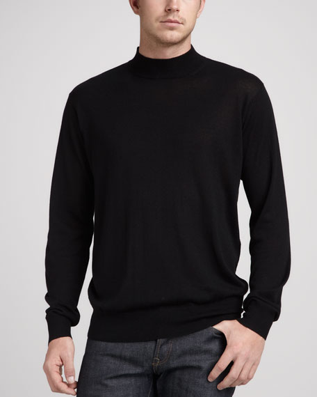 Silk/Cashmere Mock-Neck Sweater