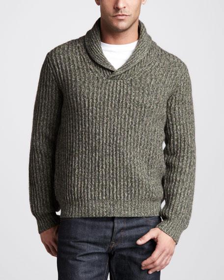 Ribbed Shawl Sweater