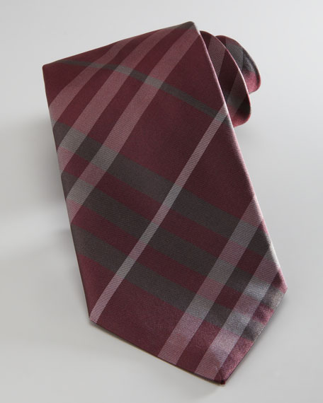 Check Tie, Red/Gray