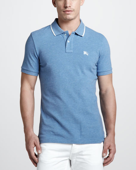 Tipped Polo, Pale Blue Melange