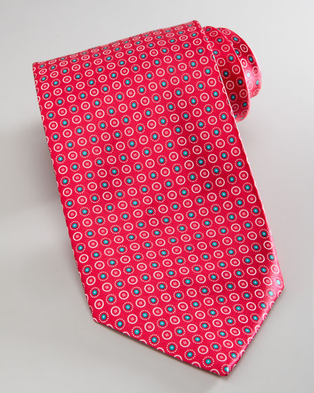 Circles Silk Tie, Magenta
