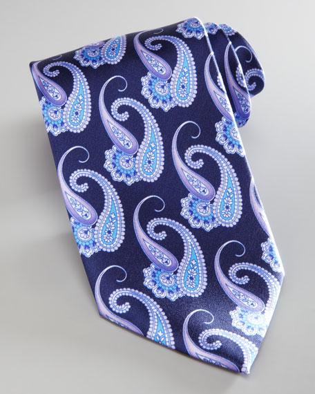 Paisley-Print Silk Tie, Lavender