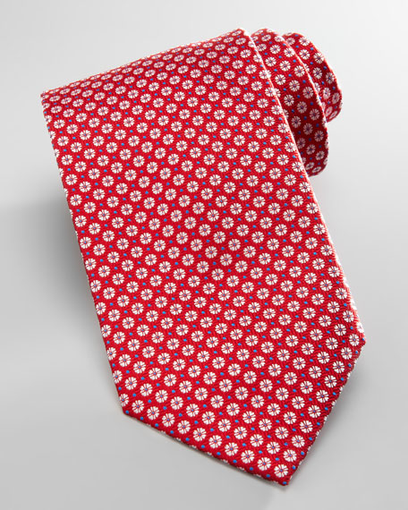 Mini-Flowers Silk Tie, Red