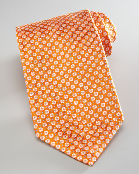 Mini-Flowers Silk Tie, Orange