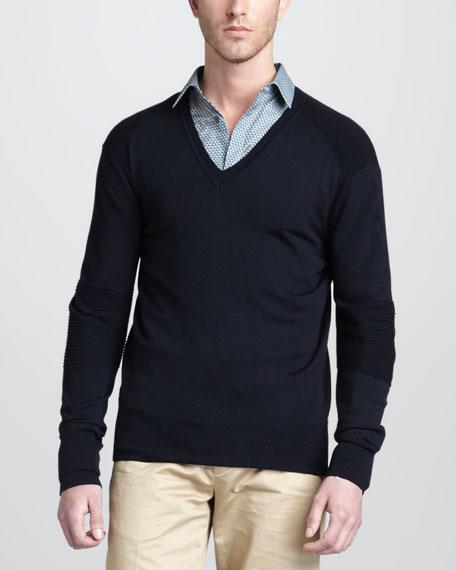 Somerford V-Neck Moto Sweater