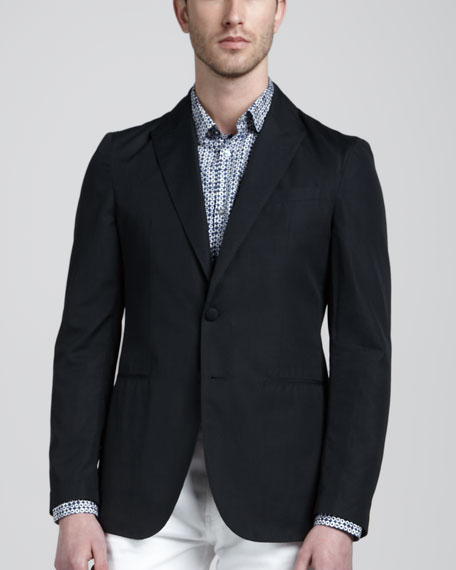 Unstructured Cotton Tuxedo Jacket