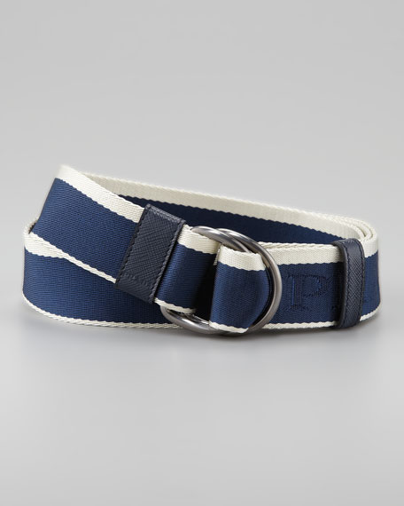 Striped Nylon Belt, Blue/White