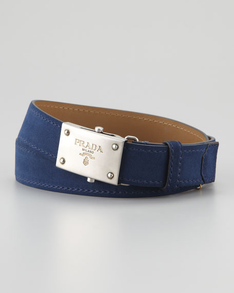 Suede Belt, Navy